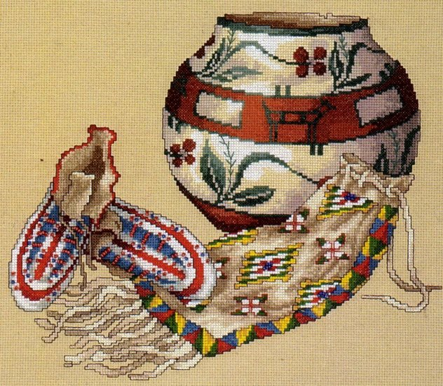 LE MESSURIER SOUTHWEST NATIVE AMERICAN ART REPRO CROSS STITCH KIT POTTERY  BEADED MOCCASINS & MORE