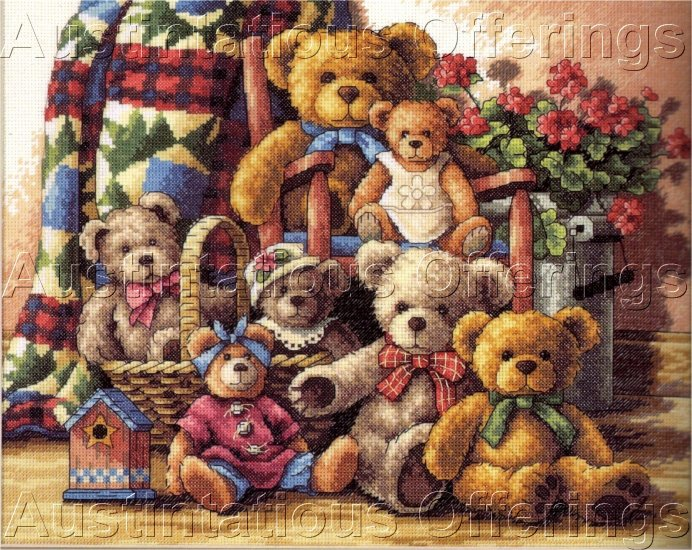 DOUG KNUTSON TEDDY BEAR FAMILY CROSS STITCH KIT GOLD COLLECTION TEDDIES GATHERED
