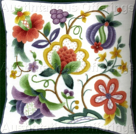 RARE MICHAEL LECLAIR BEADED JACOBEAN CREWEL EMBROIDERY PILLOW KIT CONTEMPORARY COLORS
