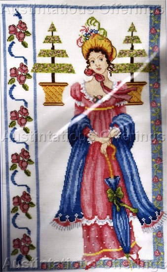 NOSTALGIC BEAUTY BEADED CROSS STITCH KIT EMPIRE DRESS REGENCY PERIOD