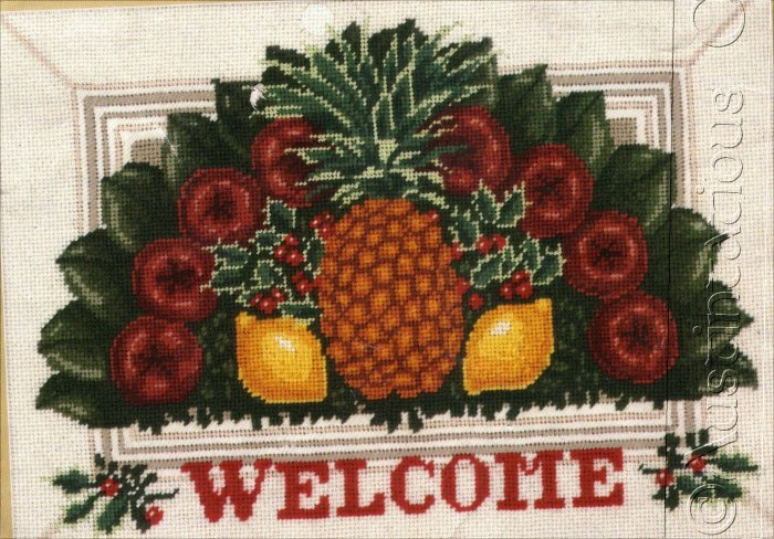 RARE WILLIAMSBURG FRUIT HOLIDAY WELCOME NEEDLEPOINT KIT