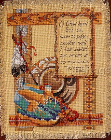 RARE ROSSI SOUTHWEST NATIVE AMERICAN CROSS STITCH KIT TWO MOONS
