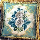 RARE MICHAEL JOLLY VICTORIAN SCROLL FLORAL WHITE ROSES NEEDLEPOINT PILLOW KIT