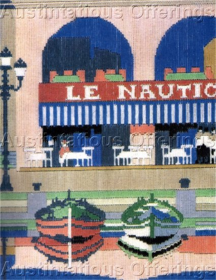 RARE BRIGGS LONGSTITCH NEEDLEPOINT KIT TRAVEL POSTER SEASIDE CAFE ANCHOR WOOLS