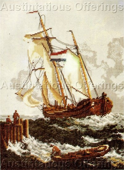 RARE SEASCAPE LINEN CROSS STITCH KIT TALL SAILING SHIP