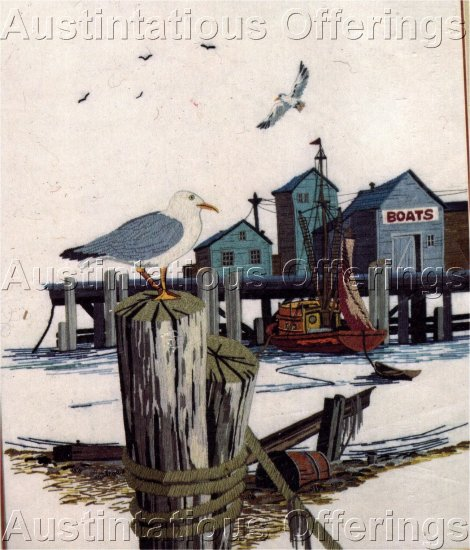 FISHERMAN'S WHARF CREWEL EMBROIDERY KIT MARITIME INTEREST DOCKSIDE BOAT