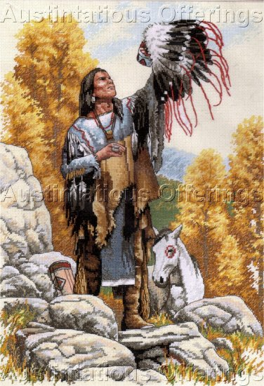 RARE STEVEN LANG NATIVE AMERICAN PORTRAIT CROSS STITCH KIT GREAT SPIRIT