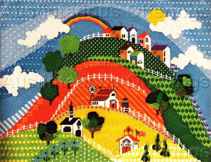 RARE MCDOWELL TEXTURED FOLK ART NEEDLEPOINT KIT HILLSIDE COUNTRY VILLAGE