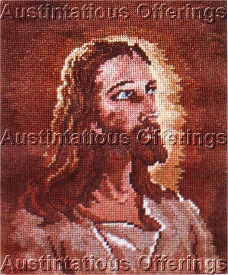 RARE INSPIRATIONAL  JEAN MCINTOSH  JESUS CHRIST WOOL NEEDLEPOINT PETIT POINT KIT