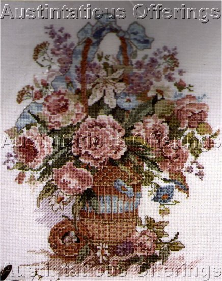 WYATT SPRING FLORAL BASKET CROSS STITCH KIT MOTHERS DAY FLOWER BASKET