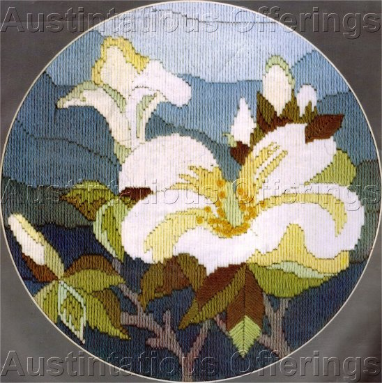 RARE ANCHOR WOOL FLORAL LONGSTITCH NEEDLEPOINT KIT MAGNOLIA BLOSSOM SEMCO