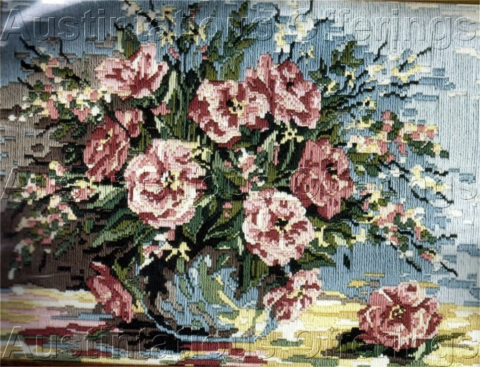 RARE FLORAL STILL LIFE LONGSTITCH NEEDLEPOINT KIT FULL BLOWN PINK ROSES