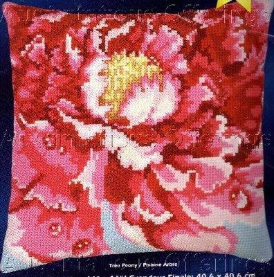 LARGE COUNT DEW DROP PEONY BAATZ WOOL CROSS STITCH PILLOW KIT