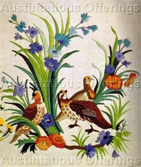 RARE WILSON BIRD CREWEL EMBROIDERY KIT BELGIAN LINEN QUAIL