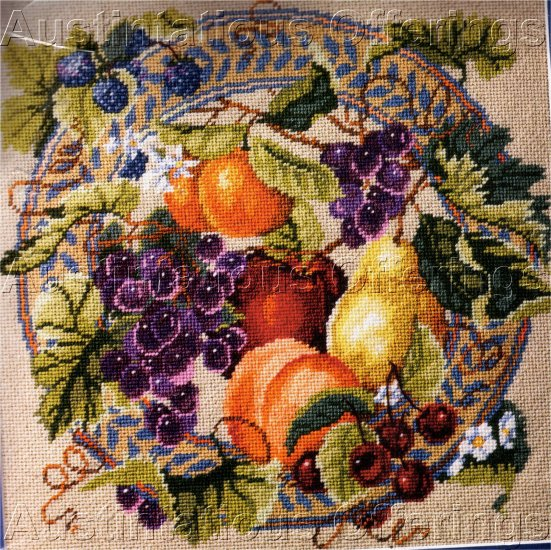 RARE BAATZ SUMMER FRUIT HARVEST PLATE NEEDLEPOINT PILLOW KIT