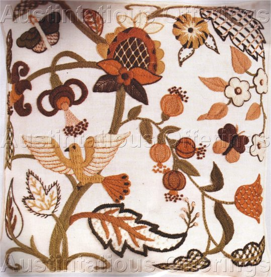 RARE WILSON JACOBEAN CREWEL EMBROIDERY PILLOW KIT BROWN TONES