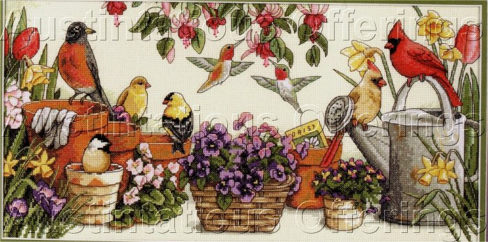 SUSAN BOURDET WATERCOLOR REPRO CROSS STITCH KIT FLOWER GARDEN BIRDS CARDINAL ROBIN & MORE