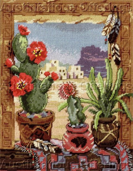 RARE ERIKSEN SOUTHWEST CACTI STILL LIFE NEEDLEPOINT KIT WESTERN WINDOW