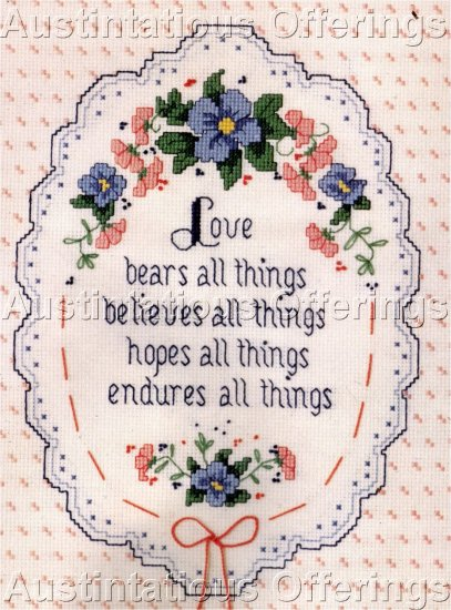VICTORIAN VERSE CROSS STITCH KIT LOVE ENDURES