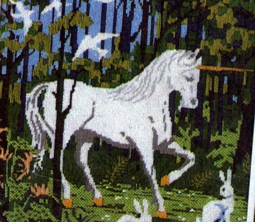 NEEDLEPOINT KIT FOREST UNICORN BIRD RABBIT