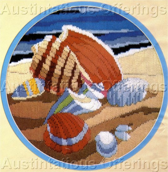 BEACH SIDE STILL LIFE REINARDY LONGSTITCH NEEDLEPOINT KIT SEASHELLS