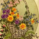 RARE GEORGIA BALL CREWEL EMBROIDERY KIT BASKET OF WILDFLOWERS