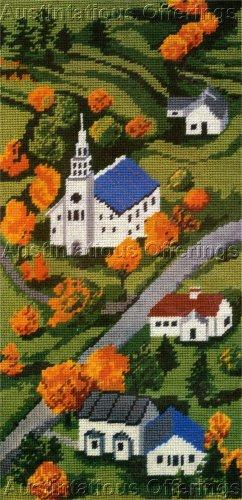 RARE AUTUMN CHURCH IN THE VALLEY NEEDLEPOINT KIT