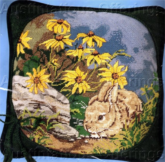 RARE SPRING GARDEN BUNNY HIDING NEEDLEPOINT PILLOW KIT RABBIT DAISIES