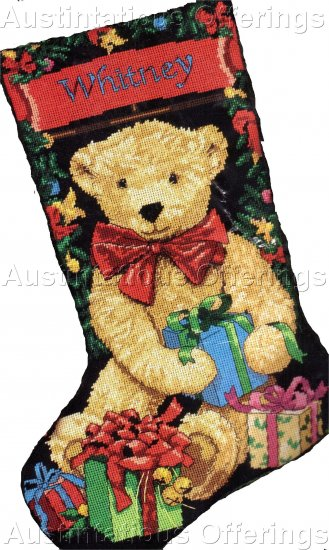 MARILEE CARROLL CHRISTMAS TEDDY BEAR NEEDLEPOINT STOCKING KIT