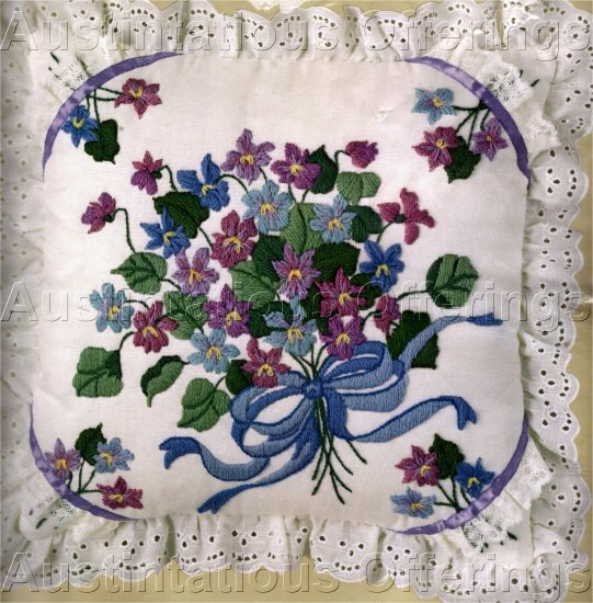 LONGSTITCH NEEDLEPOINT KIT VIOLET AND LILAC PILLOW