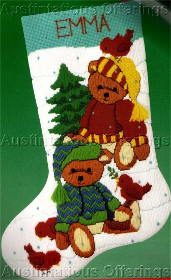 RARE CHRISTMAS TEDDY BEARS LONGSTITCH  & TEXTURED NEEDLEPOINT STOCKING KIT