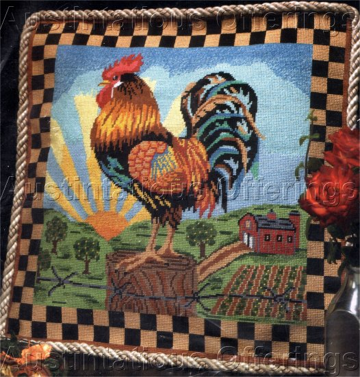 RARE SUNRISE COCKEREL NEEDLEPOINT PILLOW KIT FOLK ART FARM MORNING ROOSTER