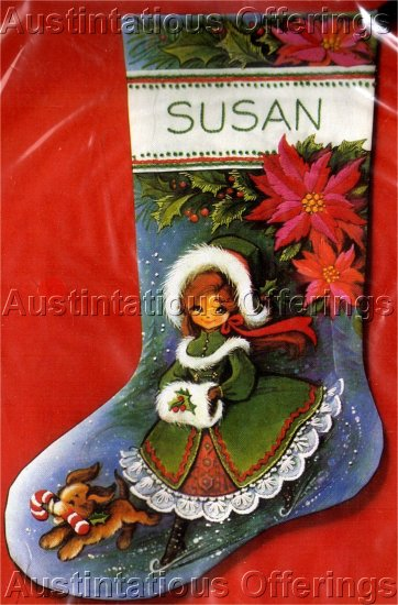 RARE EVA DIANA LUKE  VICTORIAN SKATER CREWEL EMBROIDERY CHRISTMAS STOCKING KIT