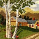 RARE  BIRCH TREES FARM WOOL NEEDLEPOINT KIT COUNTRY SUMMER