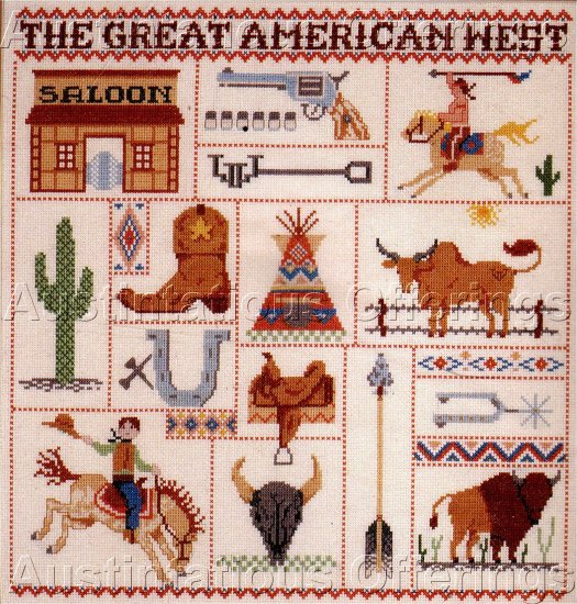 COWBOY INDIAN KITSCH WESTERN CROSS STITCH ICONIC SAMPLER KIT