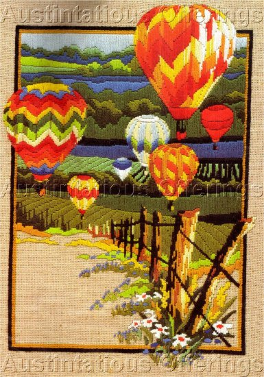 RARE REINARDY HOT AIR BALLOON LONGSTITCH NEEDLEPOINT  KIT COUNTRY CANVAS LANDSCAPE