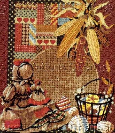 RARE REINARDY AMERICANA FOLK ART TEXTURED WOOL NEEDLEPOINT KIT INDIAN CORN