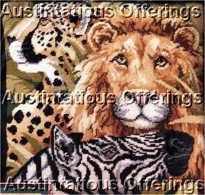 RARE GILLUM WILDLIFE LION CHEETAH ZEBRA SAFARI NEEDLEPOINT PILLOW KIT