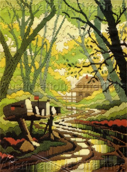 RARE REINARDY NOSTALGIC CABIN  LONGSTITCH NEEDLEPOINT KIT APRIL RAINS