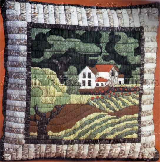 RARE FOLK ART FARM LONGSTITCH NEEDLEPOINT PILLOW KIT