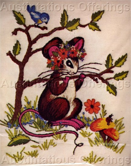 RARE VERES FAIRY TALE CREWEL EMBROIDERY KIT SUN BONNET MOUSE
