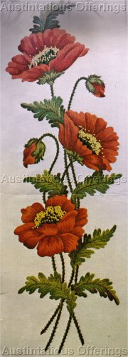 RARE VERES FLORAL STUDY CREWEL EMBROIDERY KIT BLAZING POPPY
