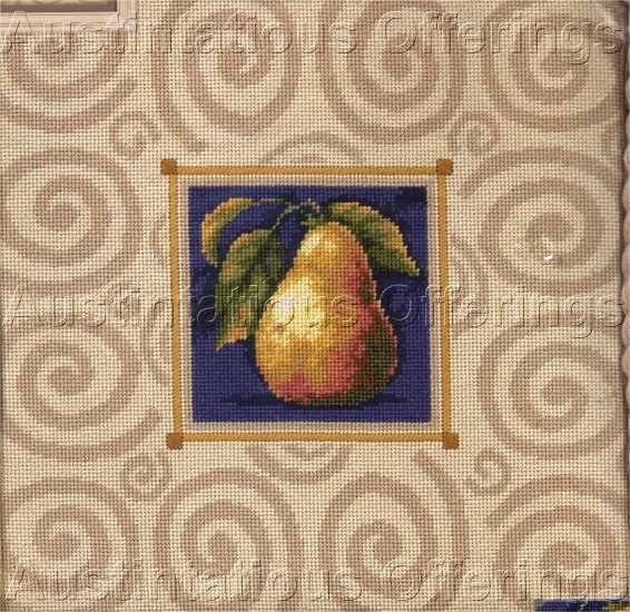 CLASSIC FRUIT STUDY NEEDLEPOINT KIT PILLOW ELEGANT PEAR