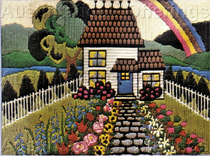 RARE VICTORIAN HOUSE & GARDEN PATH LONGSTITCH NEEDLEPOINT KIT