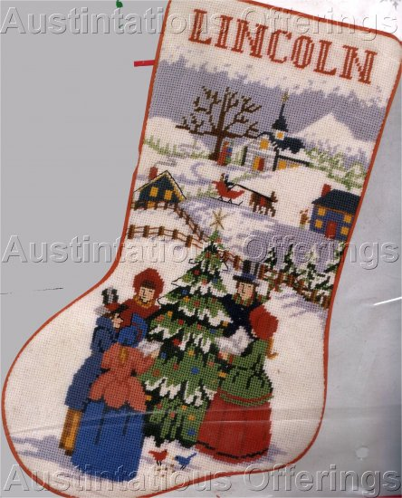 RARE BOMBARD VICTORIAN  VILLAGE CHRISTMAS CAROLERS NEEDLEPOINT STOCKING  KIT