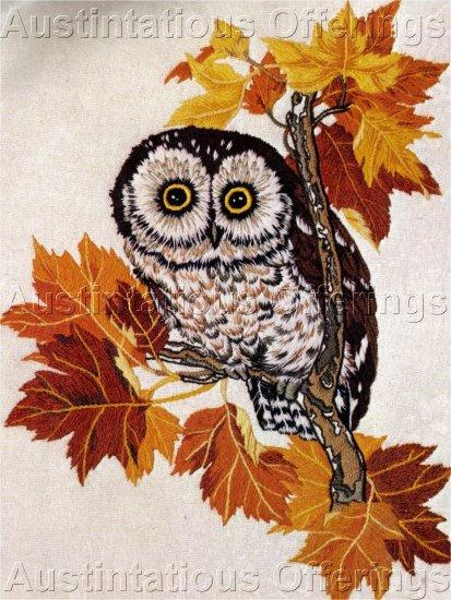 RARE POWELL BIRD OF PREY CREWEL EMBROIDERY KIT SCREECH OWL AUTUMN MAPLE