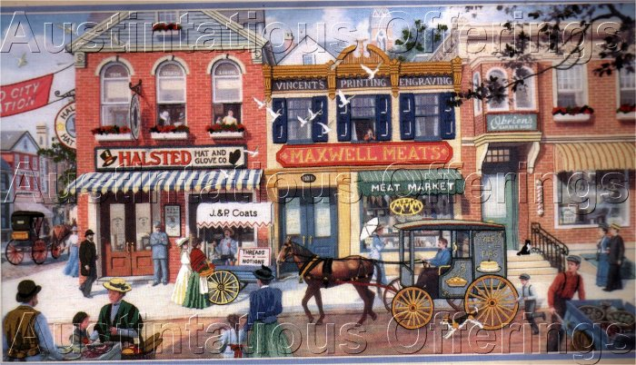 RARE HIMSWORTH FOLK ART CREWEL EMBROIDERY KIT VICTORIAN STREET SCENE