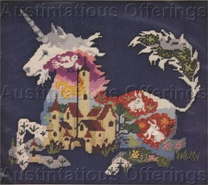 RARE GLENN UNICORN NEEDLEPOINT KIT FANTASY HIDDEN IMAGE
