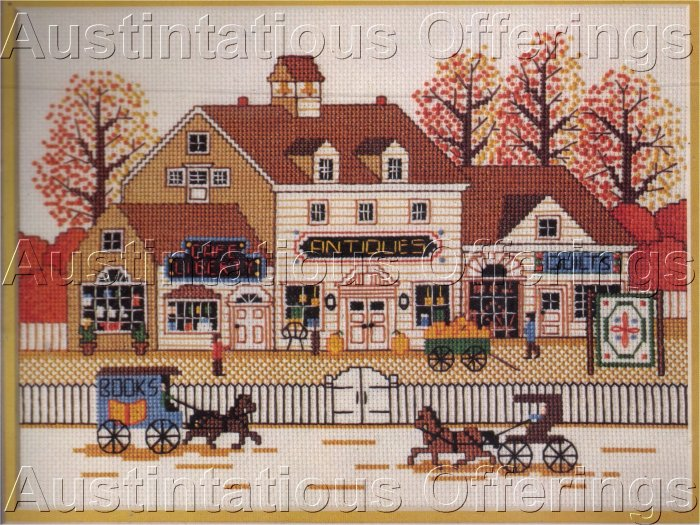 HARD TO FIND WYSOCKI FOLK ART CROSS STITCH KIT VILLAGE ANTIQUE SHOPPES