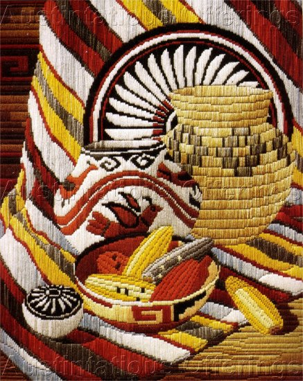 RARE REINARDY NATIVE AMERICAN STILL LIFE LONGSTITCH NEEDLEPOINT KIT SOUTHWEST BASKET BLANKET